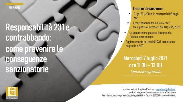 Responsabilità 231 e contrabbando:  come prevenire le conseguenze sanzionatorie – Genova, 7 luglio 2021